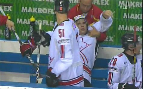 hit the bench video after dion phaneuf hit swiss player passes out on
