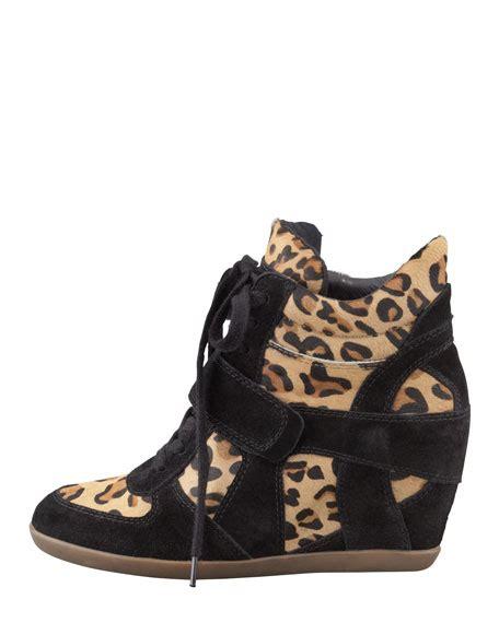 leopard sneaker wedges ash bonno leopard print calf hair wedge sneaker