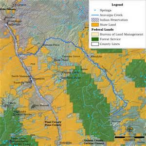 map of creek arizona arizona heritage waters aravaipa creek
