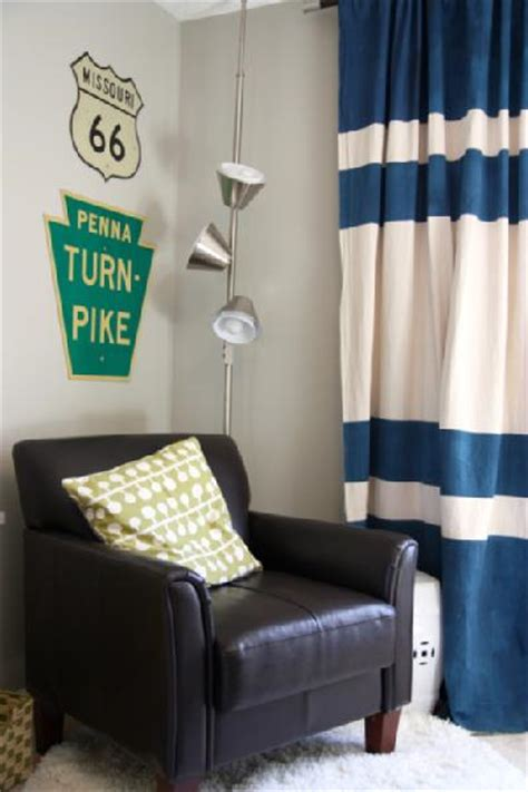 curtains for a boys room navy blue and white horizontal striped curtains