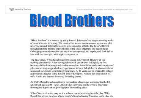 Blood Brothers Essay Help by Blood Brothers Gcse Marked By Teachers