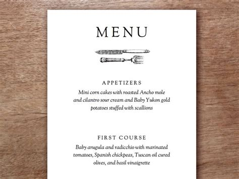 printable menu templates best 25 wedding menu template ideas on simple