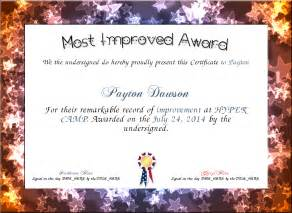 Most Improved Certificate Template by Most Improved Award Certificate Created With