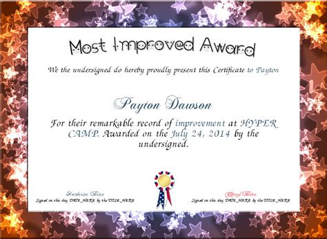 Most improved certificate template free resume pdf download most improved certificate template free 1 yelopaper Images