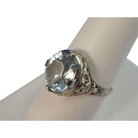aquamarine deco engagement ring deco vintage 1930 s aquamarine engagement birthstone wedding ring from mayfairjewel on ruby