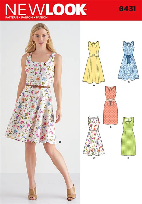 dress pattern names new look 6431 misses dresses with skirt and neckline