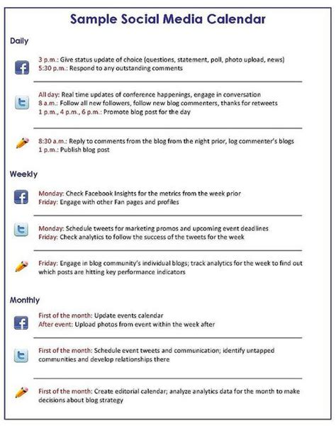 media business plan template social media marketing social media calendar and social
