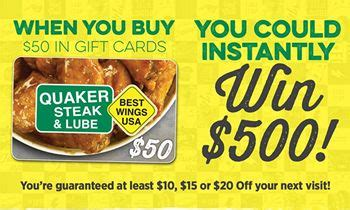 Scratch And Win Gift Cards - quaker steak lube spring gift card program rewards guests with instant scratch and