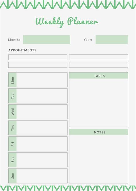 Free Weekly Planner Template In Adobe Photoshop Adobe Illustrator Adobe Indesign Template Net Weekly Planner Template Printable