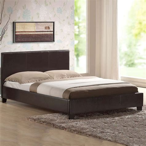 Memory Foam Mattress Bed Frame Leather Bed Frame With Orthopaedic Or Memory Foam Mattress Black Brown White Ebay