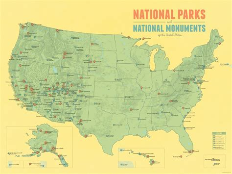 usa map with national parks us national parks national monuments map 18x24 poster