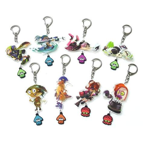 Key Ring 8pcs splatoon acrylic key ring 8pcs splatoon anime items