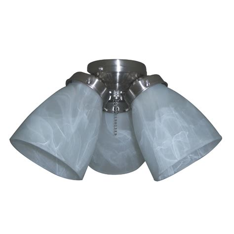 Ceiling Fan Light Shade Shop Harbor 3 Light Brushed Nickel Ceiling Fan Light Kit With Bell Glass Or Shade At