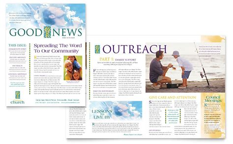 Christian Church Newsletter Template Word Publisher Free News Bulletin Templates