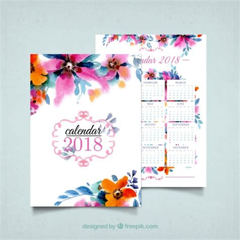 2018 watercolor flowers calendar vector free download