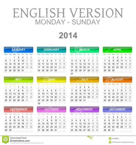 Calendar B C 2014 Calendarios Versi 243 N De Lunes A Domingo Ingl 233 S Stock