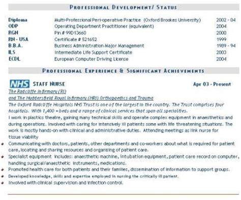 Nursing CV example, nurses doctors, Curriculum Vitae CV