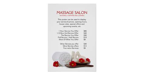 massage salon price rate display poster zazzle com