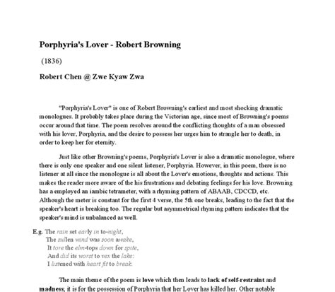 Porphyrias Lover Essay Structure by Analysis Of Robert Browning S Porphyria S Lover International Baccalaureate World Literature