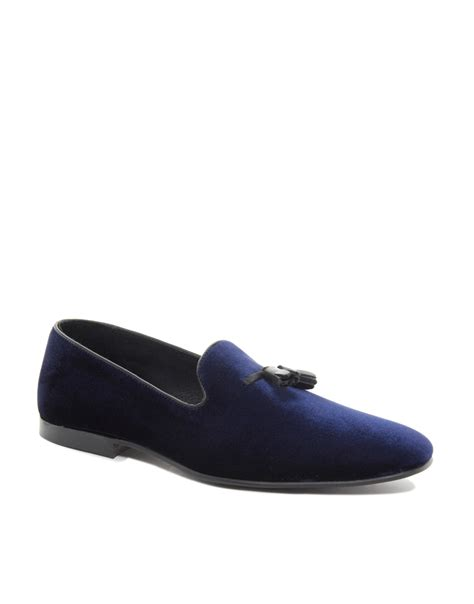 velvet loafer asos tassel loafers in velvet in blue for lyst