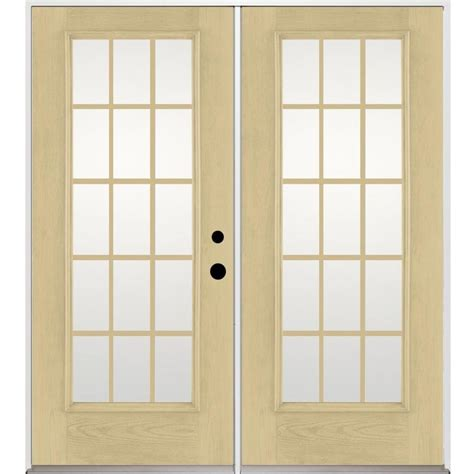 inswing patio door shop benchmark by therma tru 70 5625 in 15 lite grilles