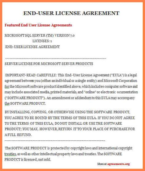 software end user license agreement template 5 software end user license agreement template purchase