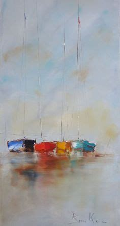 docked mallaig by scottish contemporary artist pam watercolors mostly