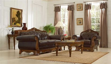 Classic Living Room Furniture Brown Leather Classic Living Room 14379