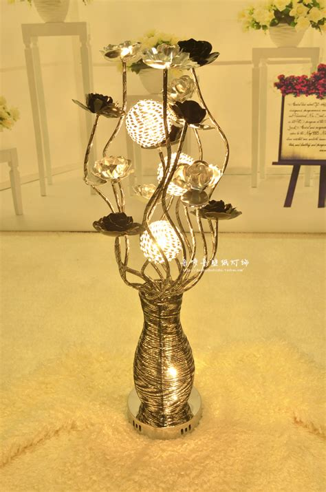Flowers With Lights In Vase by Modern Fashion Aluminum Wire Table Light Decoration