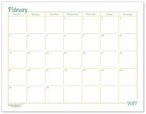 Single Page Calendar Template by 2017 Size Monthly Calendar Printables Are Here