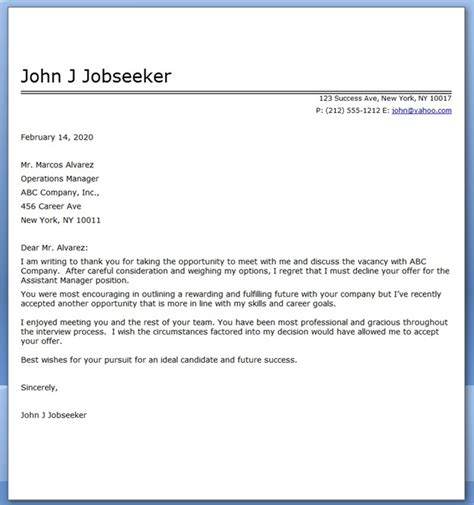 politely turning a offer decline letter sle resume downloads