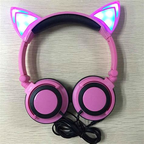 Headset Nekomimi creative personality cat ears headset folding led headphones for pc mobile ebay