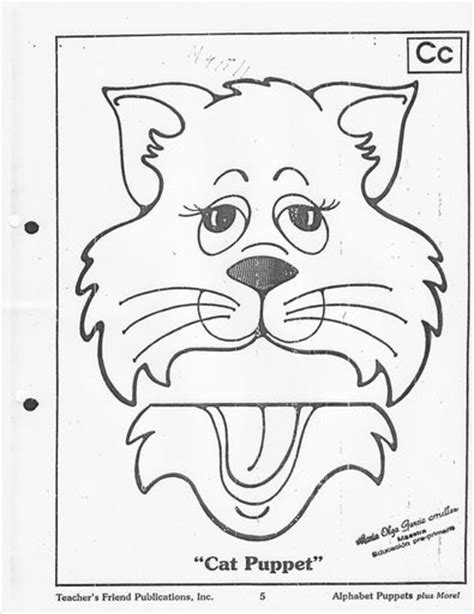 paper bag cat puppet pattern crafts actvities and worksheets for preschool toddler and