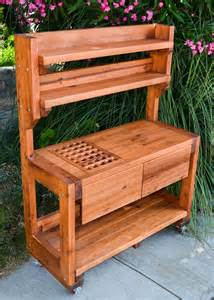 Redwood Potting Bench Custom Outdoor Wood Bench Free Plans Building Wood Workbench