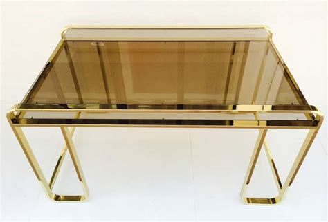 Smoked Glass Desk by Stunning Polished Brass With Smoked Glass Desk By