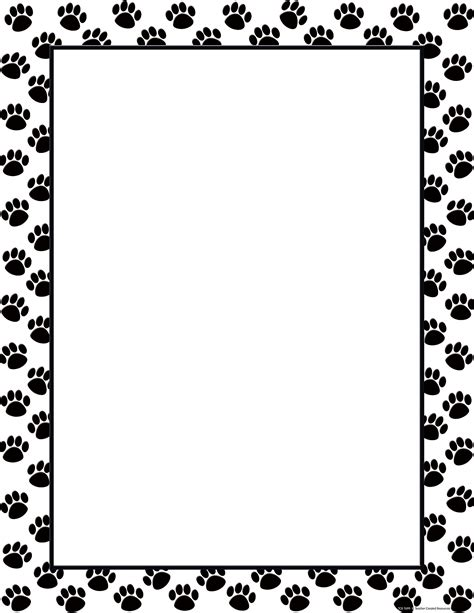 Paw Print Page Border Clip by Black Paw Prints Blank Chart Tcr7699 Created