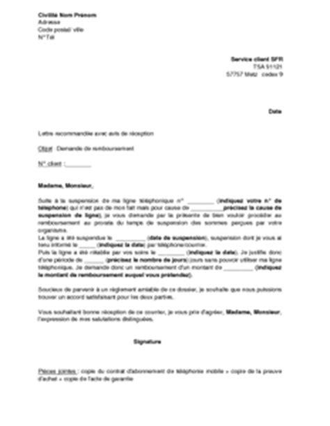Lettre De Remboursement Free Exemple Gratuit De Lettre Demande Remboursement Prorata Suite 224 Suspension Ligne Sfr