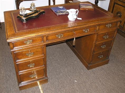 good quality victorian oak double sided desk 262391