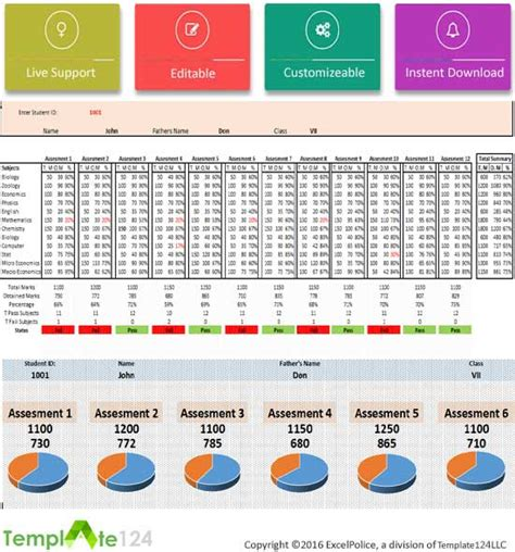 excel template report card printable student report card template excel template124