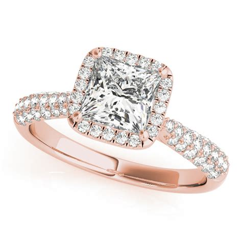 princess cut halo pave engagement ring 18k