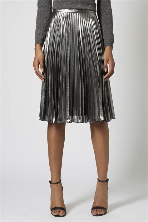 Metallic Pleated Midi Skirt 17 best ideas about silver skirt on pleated