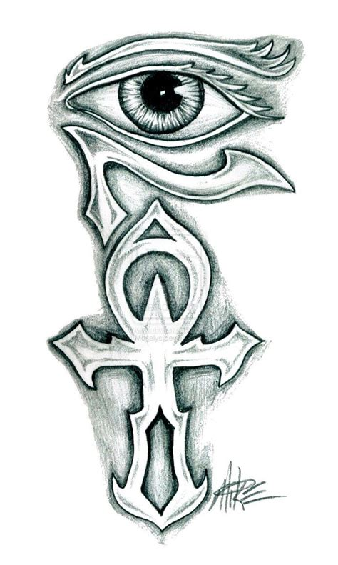 cross under eye tattoo ankh and horus eye design back
