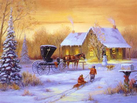 digital wallpapers classic outdoor christmas scenes