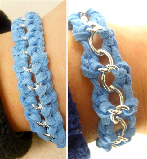 Different Knots For Hemp Bracelets - suede and chain macrame knot bracelets 2 ways