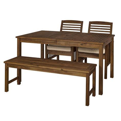 wood patio dining set acacia wood classic patio 4 dining set brown