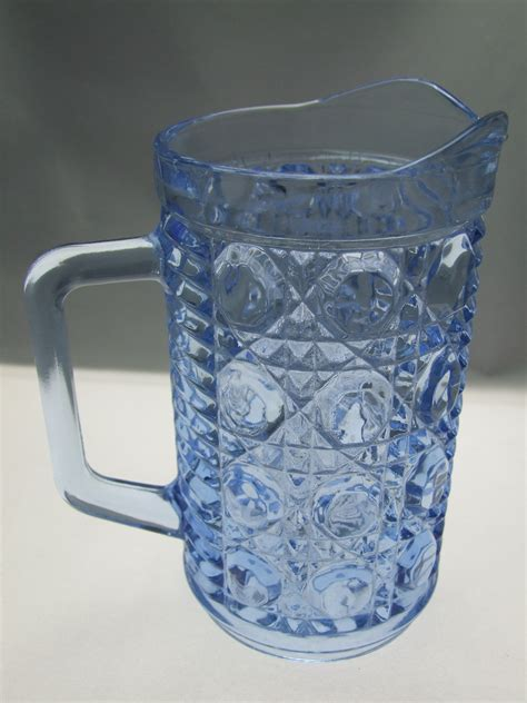 blue pattern glass vintage pint pitcher in windsor blue by federal glass