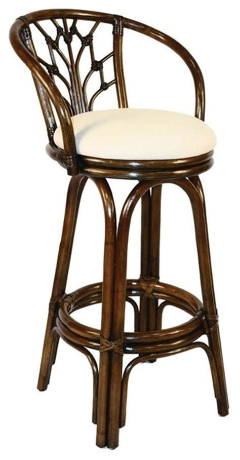 tropical style bar stools indoor swivel rattan wicker 30 in bar stool in antique