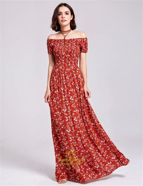 Floral Print A Line Maxi Dress shoulder a line sleeve floor length floral print
