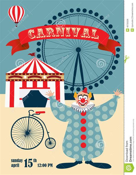 vintage carnival or circus poster stock vector