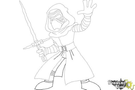 coloring pages kylo ren how to draw kylo ren from star wars vii drawingnow